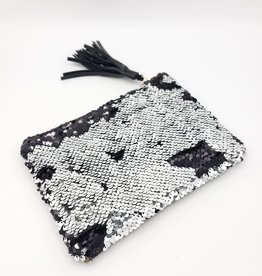 Silver/Black Sequin Pouch