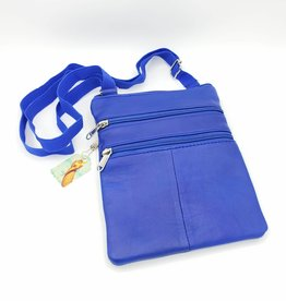 Blue Leather World Traveler Passport Bag