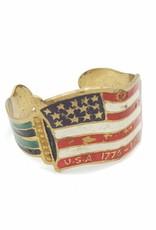 Fun Junk American Flag Vintage Enamel Cuff Bracelet