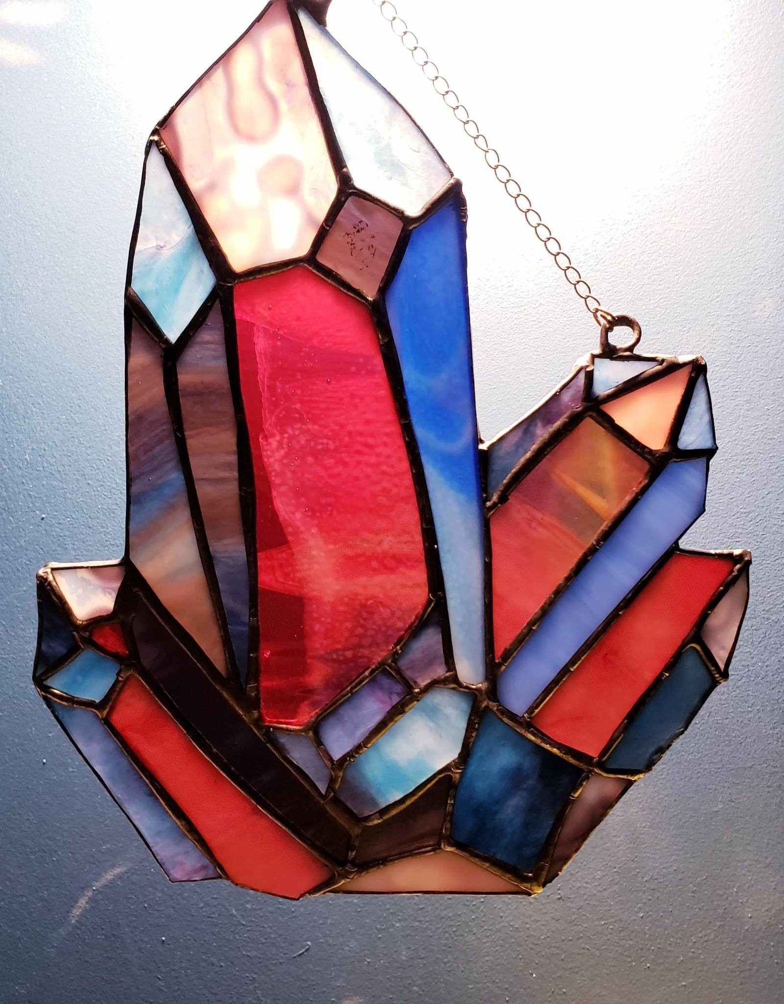Redux Gemstone Cluster Stained Glass Window
