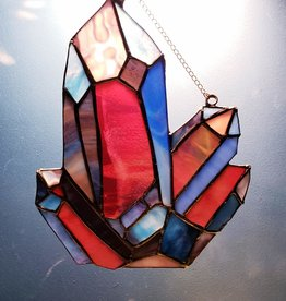 Redux Colorful Gemstone Cluster Stained Glass Window Hanging, LG
