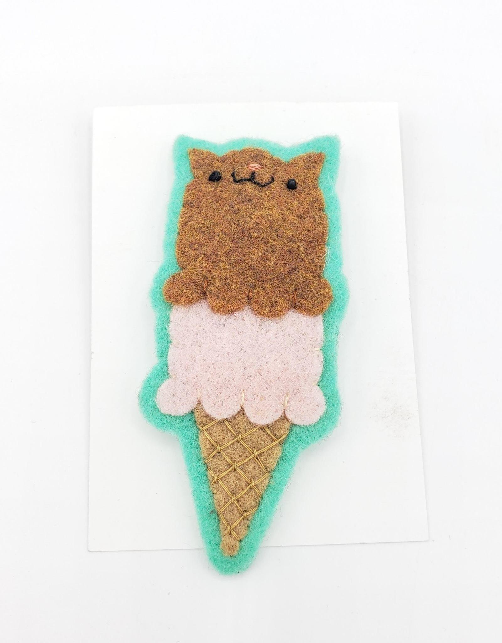 Ice Cream Cat Felted Brooch/Pin