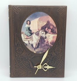 "Redux ""Woman on Horseback"" Upcycled Leather Book Clock"