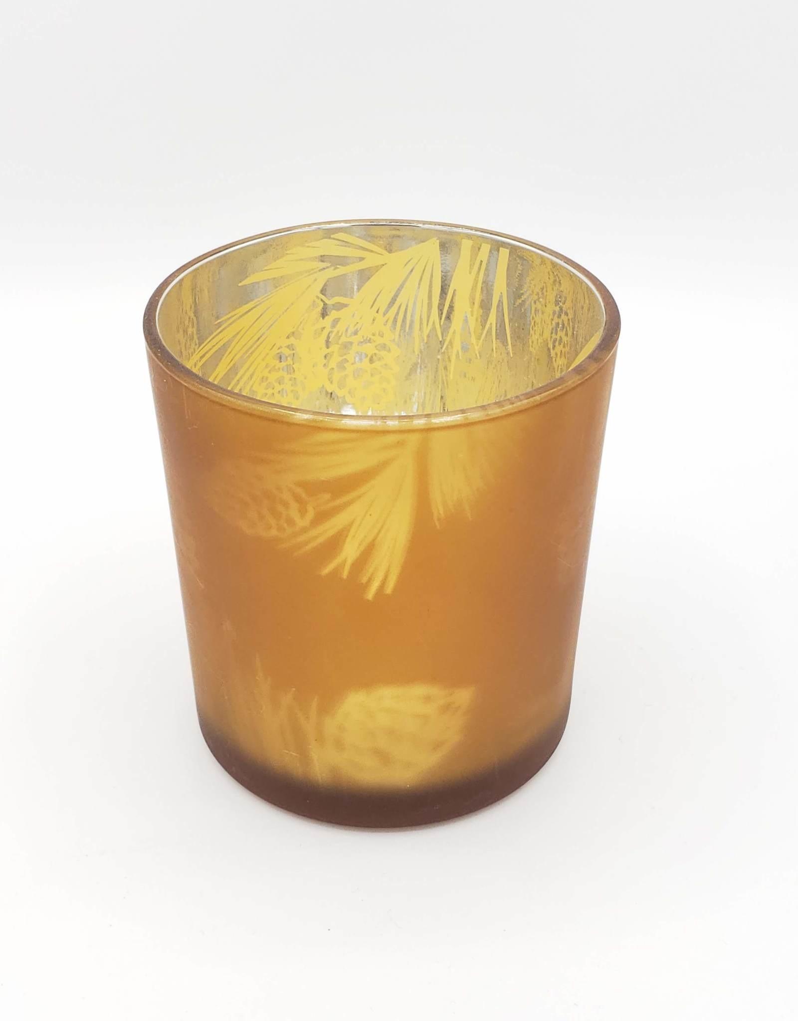 Pine Cone Votive Tea Light Holder, Amber Glass