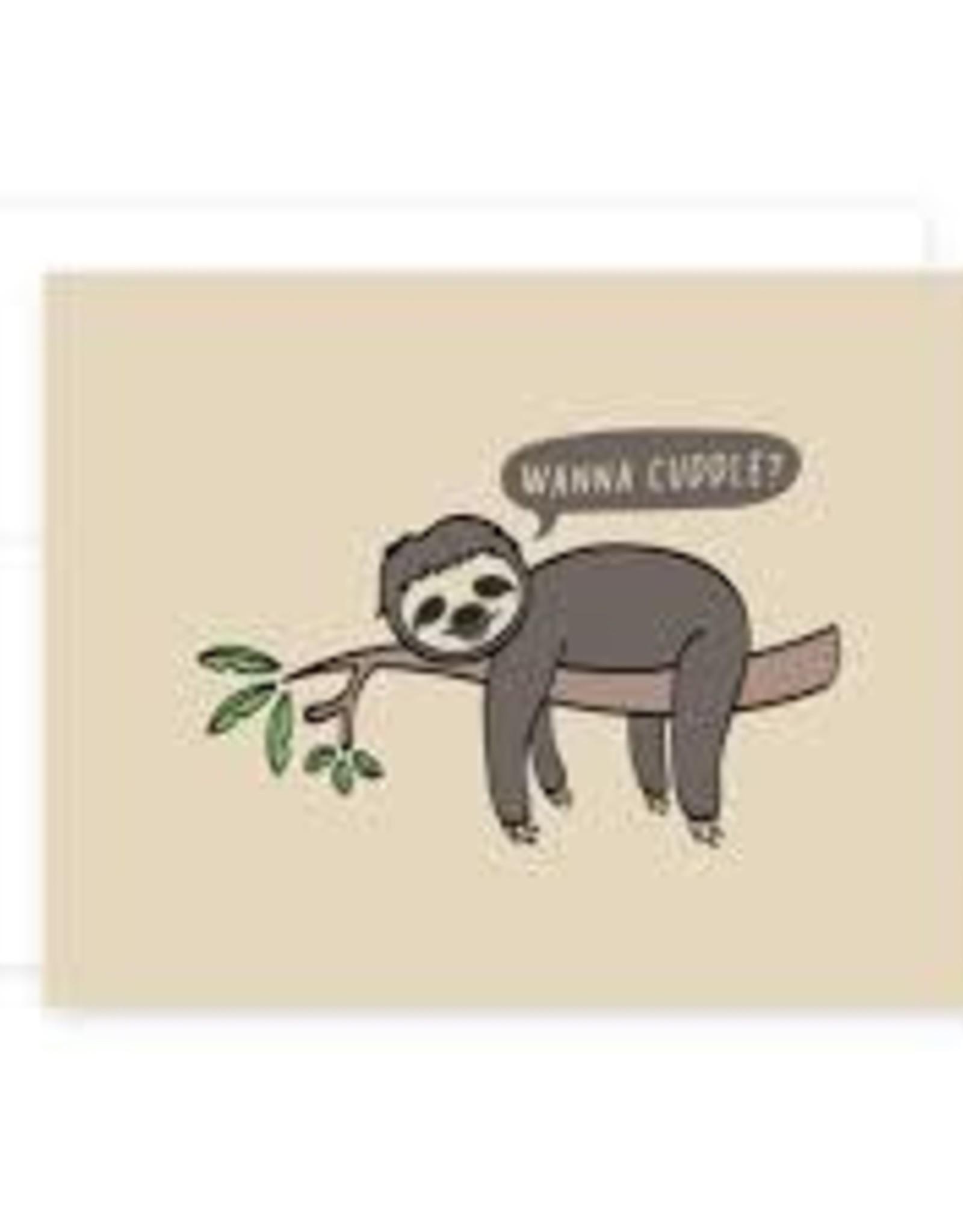 """Wanna Cuddle?"" Love Sloth Greeting Card - April Black"