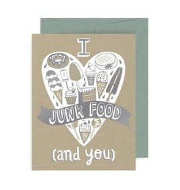 "Allison Cole ""I Heart Junk Food & You"" Love Greeting Card - Allison Cole"
