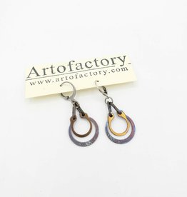 Car Parts Earrings, Rainbow & Copper Retaining Rings - Artofactory