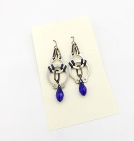 Car Parts Earrings, Retaining Rings, Cobalt Crystal - Artofactory