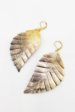 Redux Carved shell leaf earrings on sterling silver square earwires