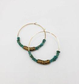 "Redux Turquoise & Brass Hoop Earrings 2"" - Gold Fill Wire"