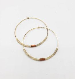 """Redux Shell & Copper Bugle Bead Hoop Earrings 2"""" - Gold Fill Wire"""