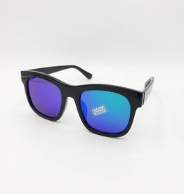 Black Wayfarer Sunglasses, Mirrored Lens