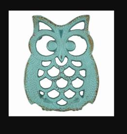 Blue Owl Iron Trivet, Blue