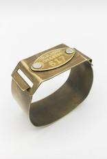 Fun Junk Vintage Brass Mail Tag Cuff Bracelet
