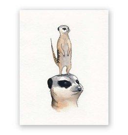 Mincing Mockingbird Meerkats Mother's Day Greeting Card - by Mincing Mockingbird