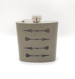 In Blue Handmade Printed Leather Flask - Arrows, Grey