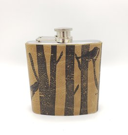 In Blue Handmade Printed Leather Flask - Birds in a Forest, Brown