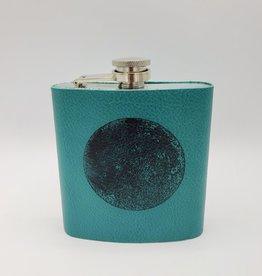 In Blue Handmade Printed Leather Flask - Moon, Teal
