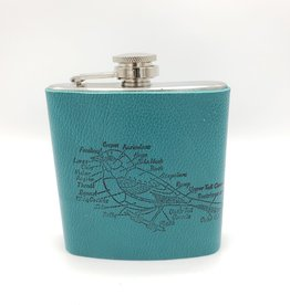 In Blue Handmade Printed Leather Flask - Bird Diagram, Teal