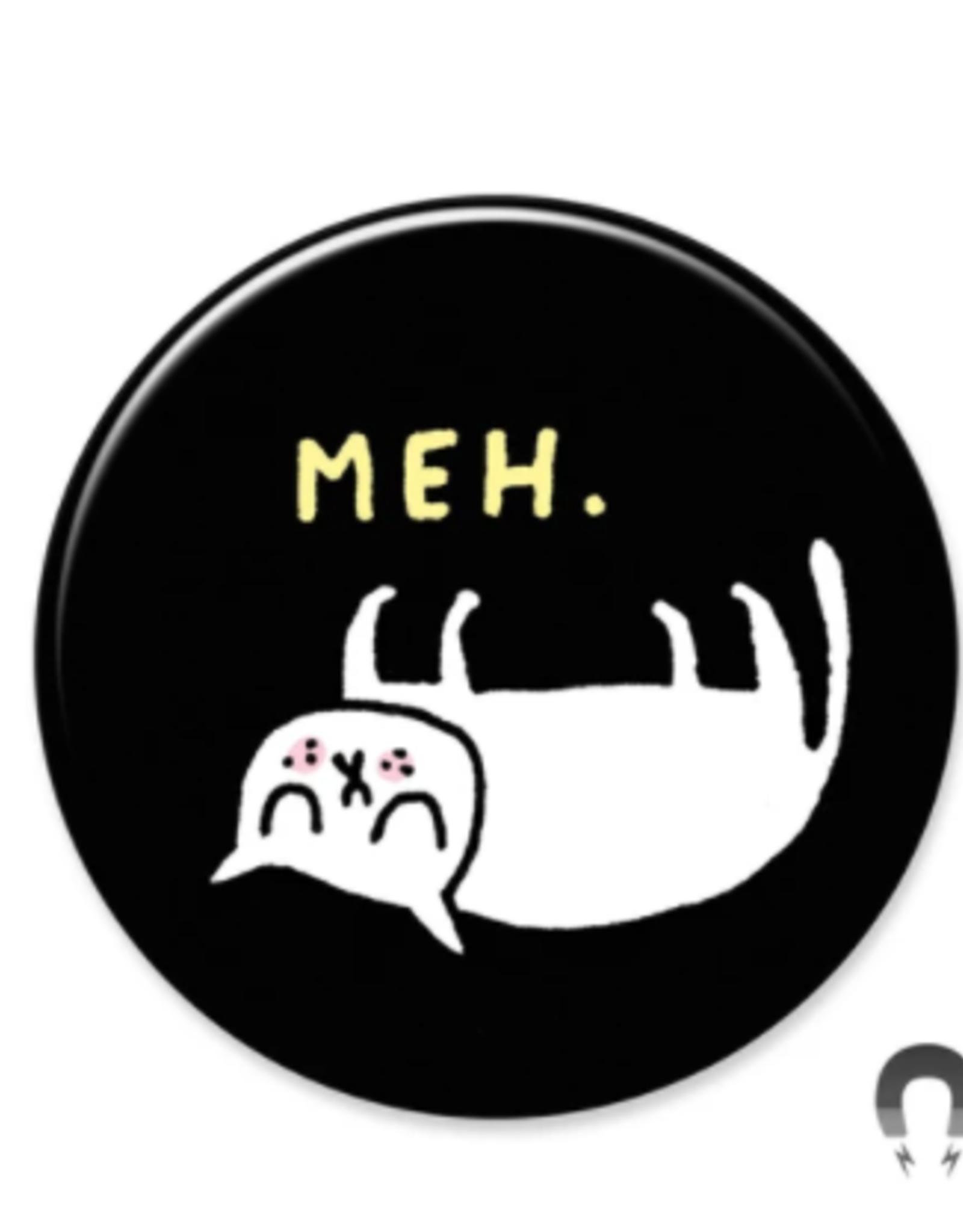 Badgebomb Meh. Cat Big Magnet