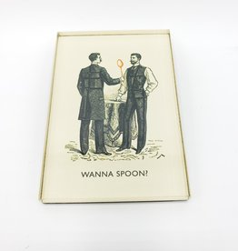 Wanna Spoon Magnet - Black and White and Red All Over