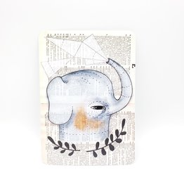 Trish Grantham Elephant Bath Postcard - Trish Grantham