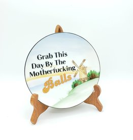 "Redux ""Grab this Day"" - Vintage Upcycled Plate Art"