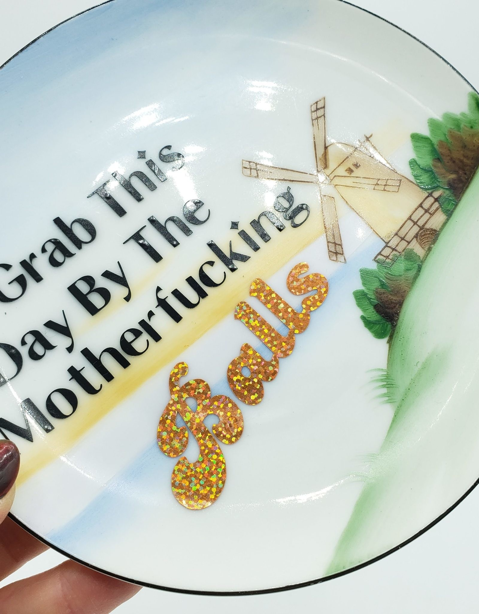 """Redux """"Grab this Day"""" - Vintage Upcycled Plate Art"""