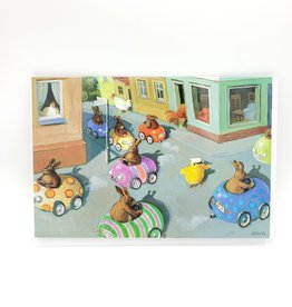 Bunny Traffic Jam Easter Greeting Card - Inkognito