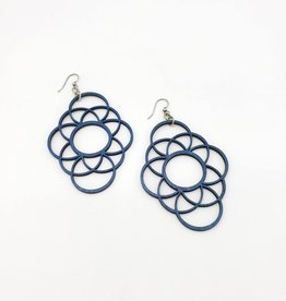 Green Tree Jewelry Laser Cut Wood Earring - Overlapping blue circles