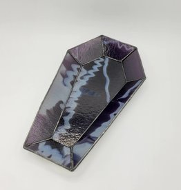 Stained Glass Coffin Desk Tray, Purple