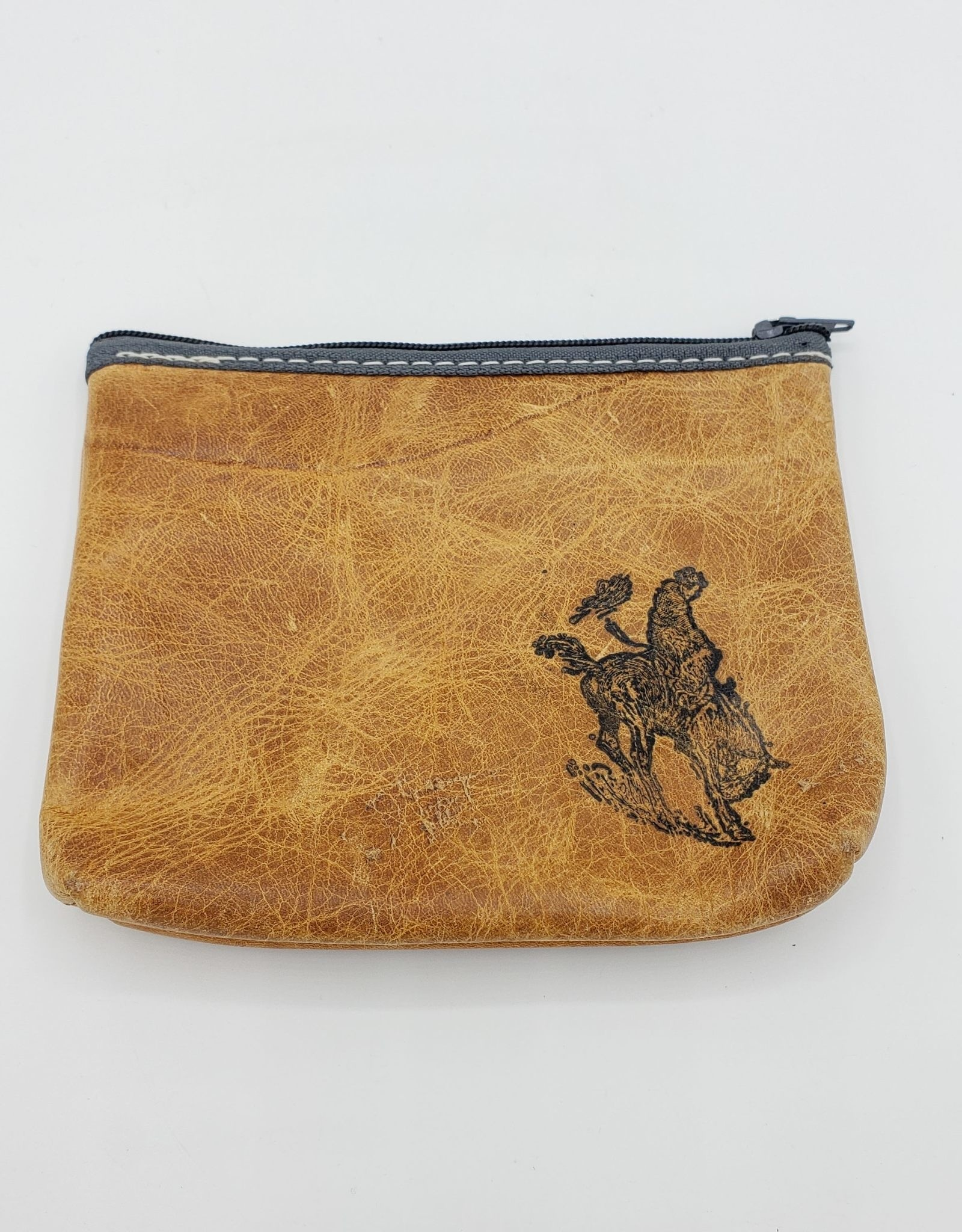 In Blue Handmade Rodeo Leather Zipper Pouch