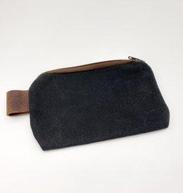 In Blue Handmade Black Waxed Canvas Zipper Pouch Coin Purse, Small