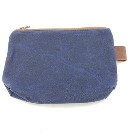 In Blue Handmade Blue Waxed Canvas Zipper Pouch Coin Purse, Medium