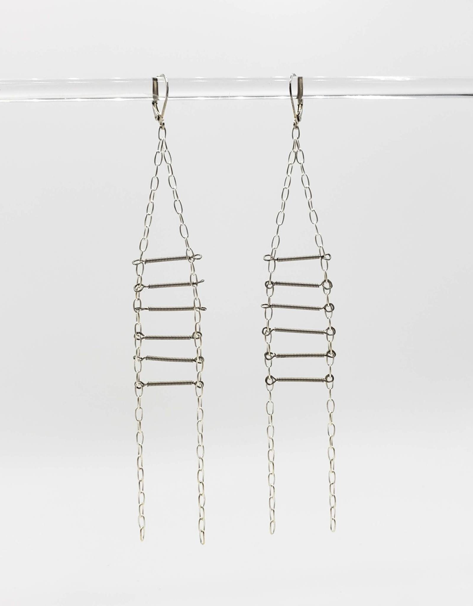 Redux Guitar String Ladder Earrings, Sterling Silver