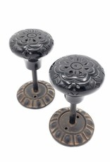 Carved Black Resin Curtain Tie-backs, Set of Two