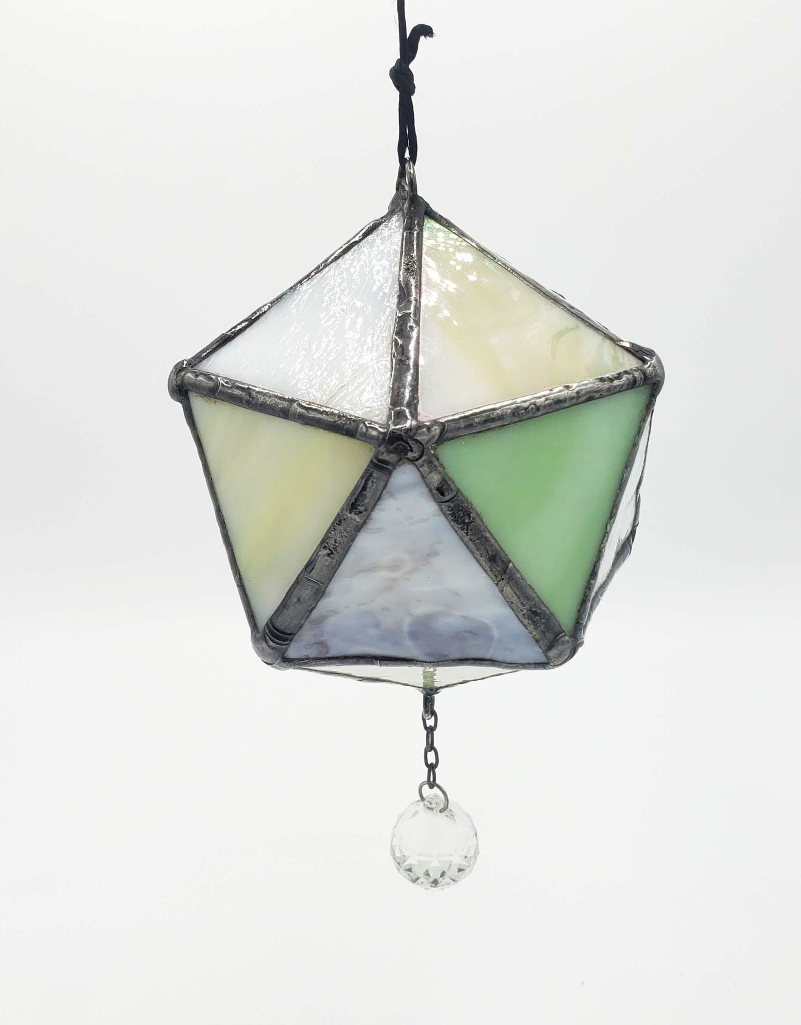 Redux Multi-Faceted D20 Isohedron with Lead Crystal Ball Stained Glass Suncatcher