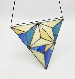 Redux Trillium Faceted Stained Glass Suncatcher, Blue & Green