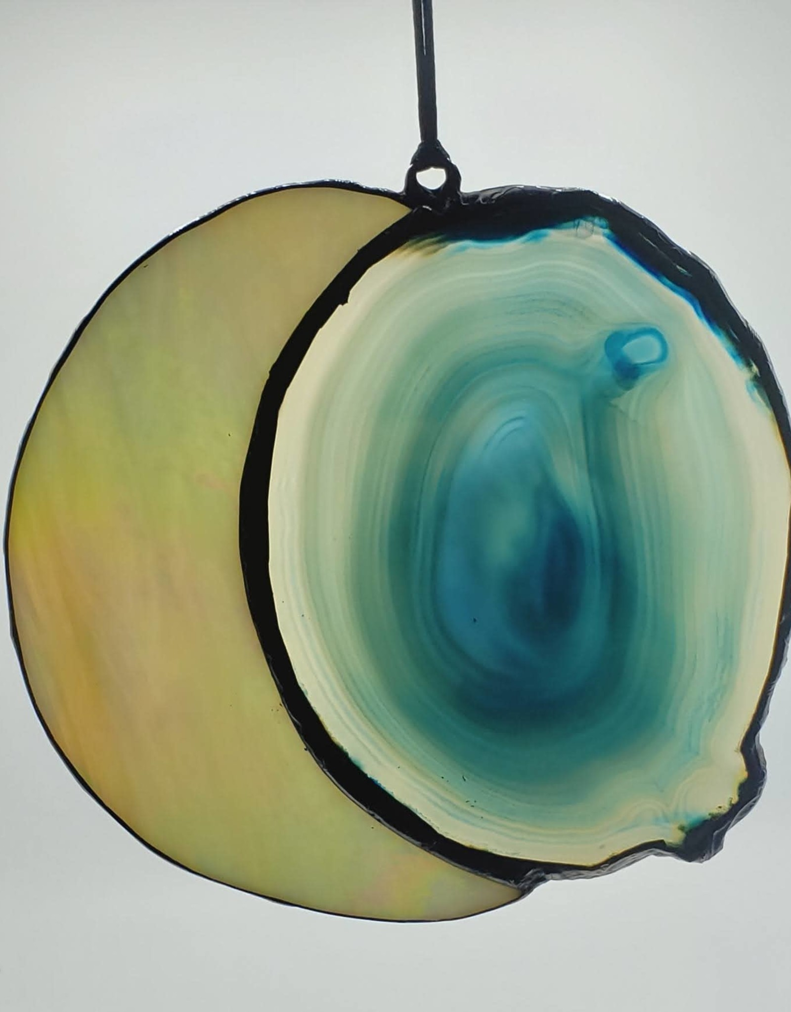 Redux Large Moon Agate Slice Blue Suncatcher, Iridescent Stained Glass