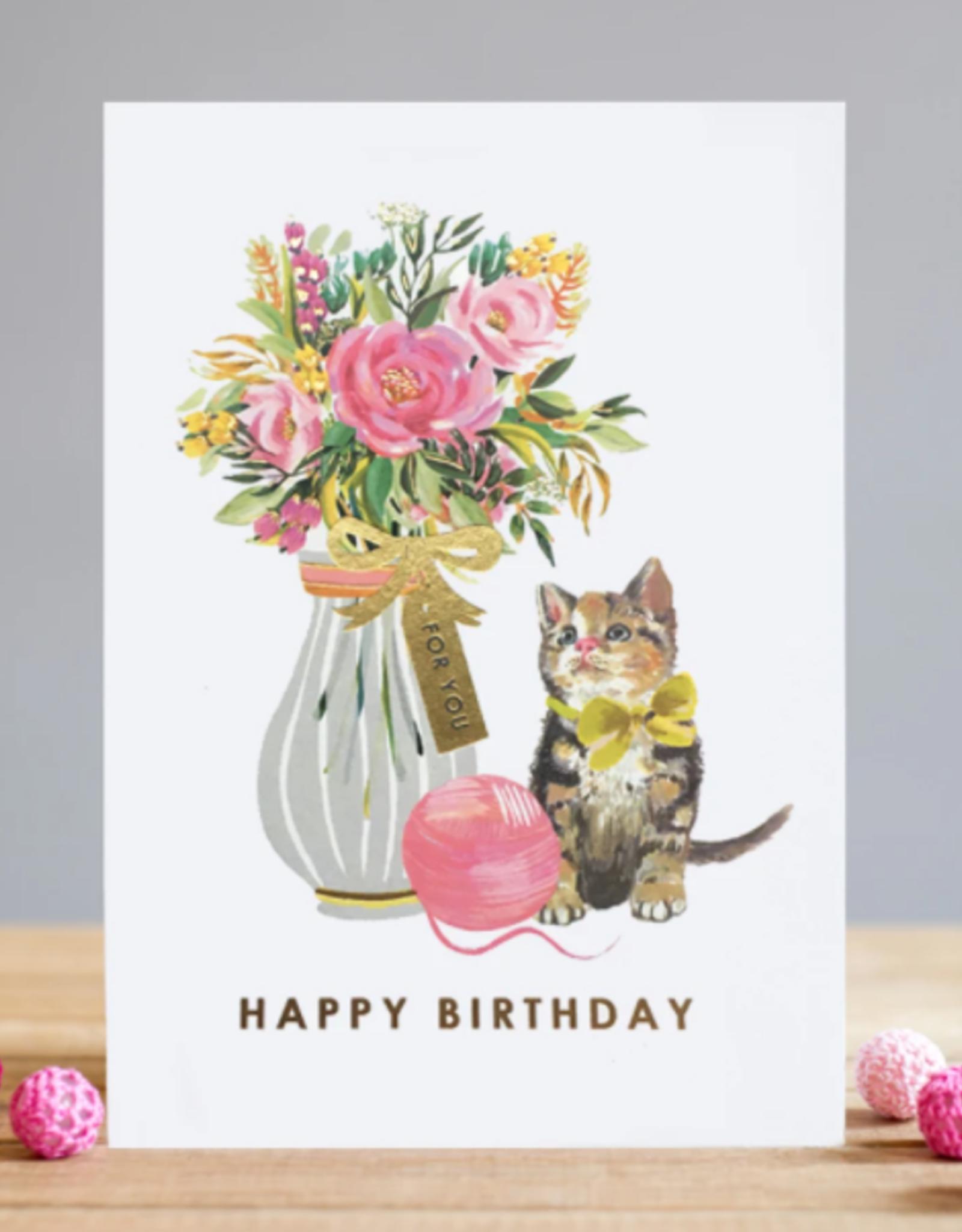 Birthday Kitten Greeting Card - Louise Tiler