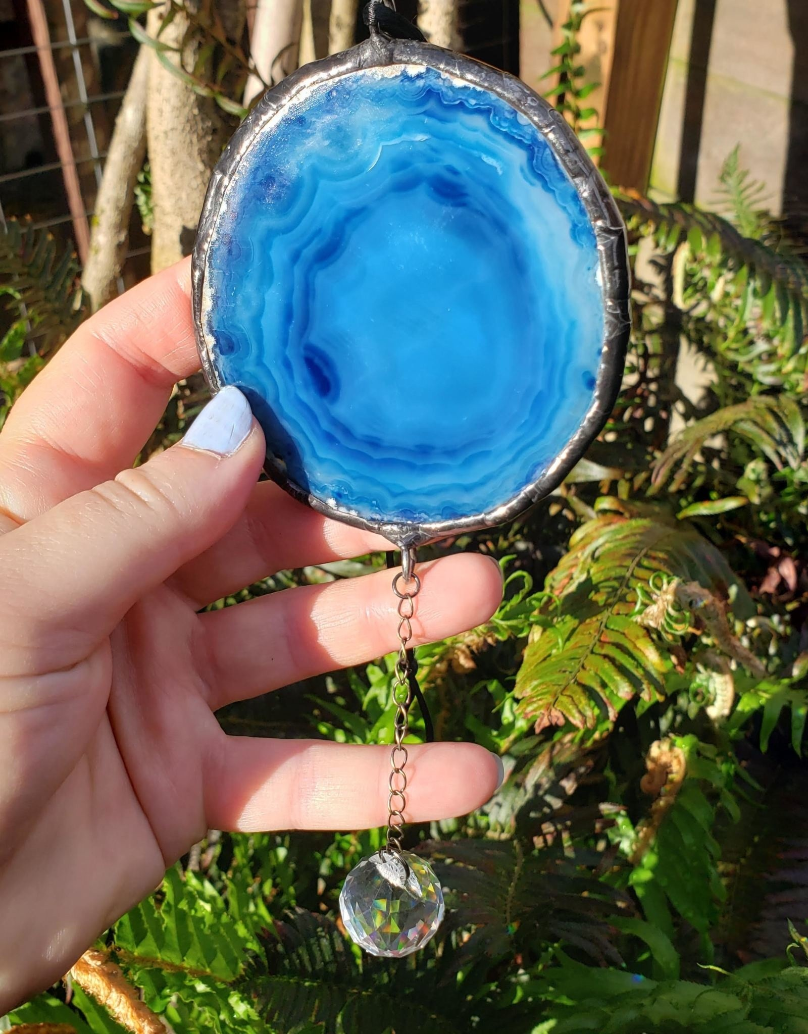Redux Crystal Ball Agate Slice Round Suncatcher