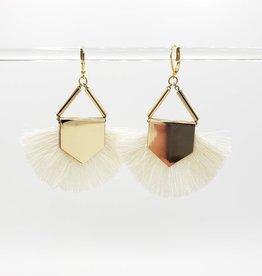 White Fan Earring, Gold Plated