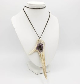 Carved Antler Necklace with Amethyst Inlay on Gunmetal Chain