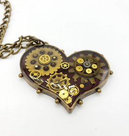 Redux Steampunk Heart Necklace, Resin, Watch Parts