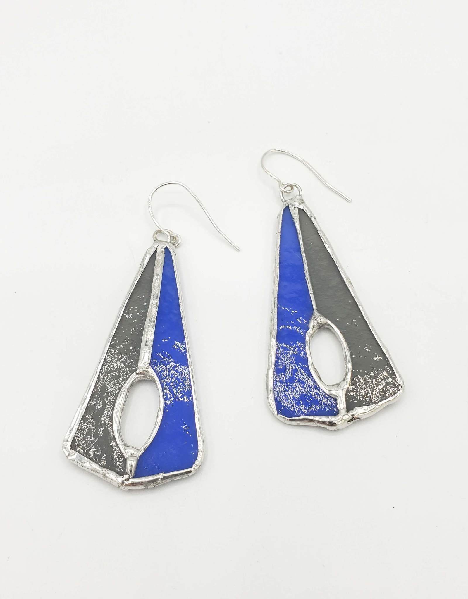 Redux Stained Glass Deco Earring, grey/blue
