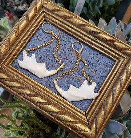 Redux Muskrat Jaw Brass Chain Earrings