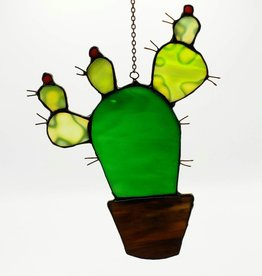 Redux Cactus Stained Glass Window Hanging