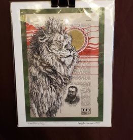 """""""Leo Rising"""" (Lion Painting on Dictionary) - Giclée Print8.5 X 11 by Ian Anderson"""