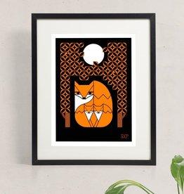 Amar & Riley Orange Fox Family Print, Lydia Daum Amar Riley 9 x 12