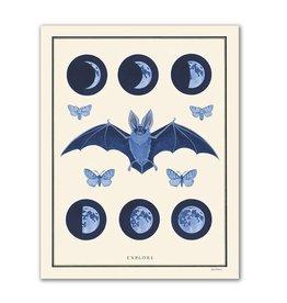 """Explore"" Bat Moon and Moth Print by Berkley Illustration - 11 x 14"